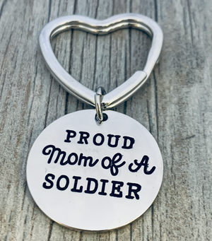 Personalized Proud Soldier Mom Keychain, Love My Soldier Jewelry, Gift for Mom- Pick Army, Navy, Air Force and Coast Guard charms - Infinity Collection