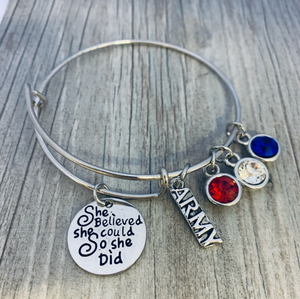 Army Charm Bracelet - She Believed She Could So She Did - Infinity Collection