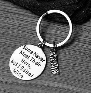 Army Mom - Dad Charm Keychain, Raised Hero Jewelry, United Stated Army Gift, Military Mother - Father Keychain - Infinity Collection