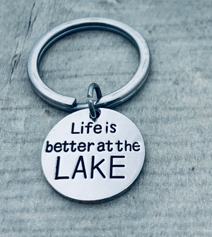 Life is Better at the Lake Keychain, Lake Jewelry, Gift for Men & Women - Infinity Collection