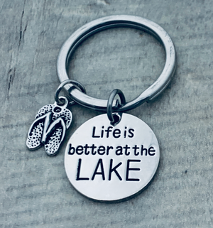 Life is Better at the Lake Keychain, Lake Jewelry, Gift for Women - Infinity Collection