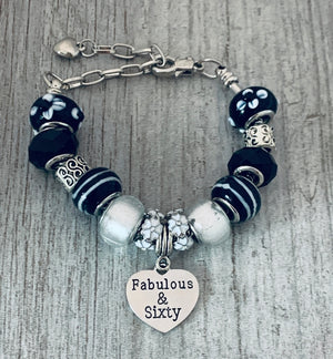 60th Birthday Charm Bracelet, Fabulous and Sixty Jewelry - Infinity Collection