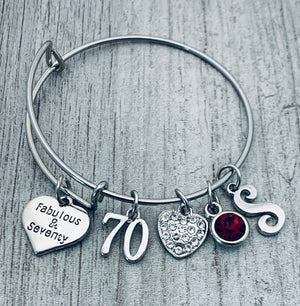 Personalized 70th Birthday Bangle Bracelet, Fabulous and Seventy Birthday Gifts for Women - Infinity Collection
