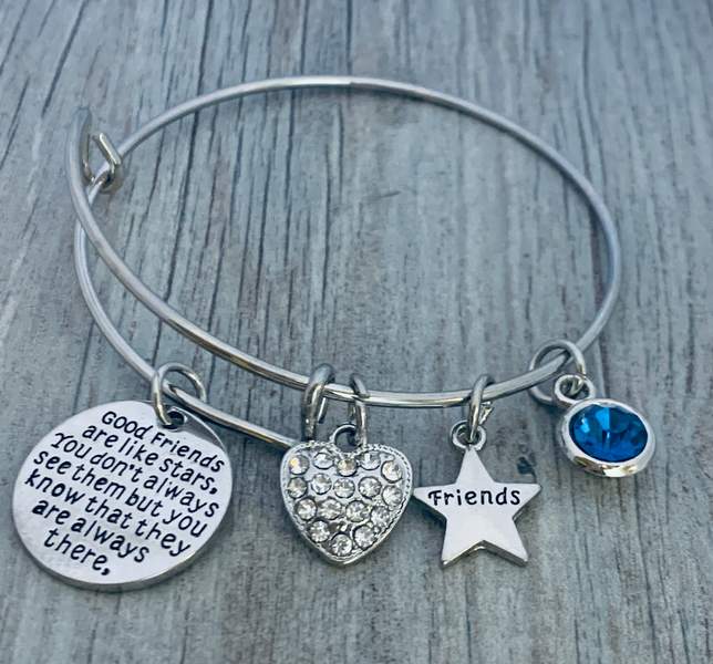 Friend Jewelry for Women Custom Good Friends are Like Stars Bangle Personalized Best Friends Birthstone Charm Bracelet Perfect Gift for Her