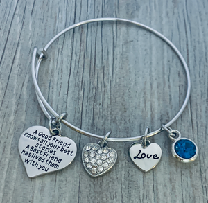 Personalized Friends Bracelet- Good Friends Never Say Goodbye Bangle Bracelet- Friend Jewelry- Perfect Gift for Friends - Infinity Collection