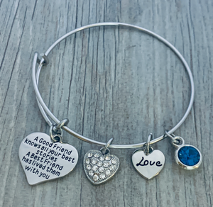 Personalized Friendship Bracelet, Good Friend Knows All Your Best Stories, A Best Friend Has Lived Them With You Bangle Bracelet - Infinity Collection
