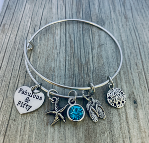 50th Birthday Charm Bracelet, Fabulous and Fifty Beach Themed Jewelry - Infinity Collection