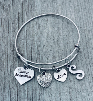 Personalized Junior Bridesmaid Charm Bangle Bracelet, Customized Jr Bridesmaid Jewelry, Makes the Perfect Wedding Party Gift For Bridesmaids - Infinity Collection