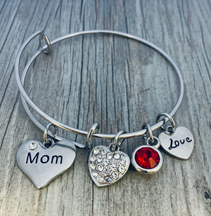 Personalized Mom Birthstone Charm Bangle Bracelet, Mothers Day Jewelry, Gift for Her - Infinity Collection