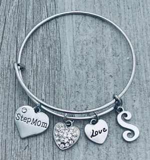 Personalized Bonus Mom Initial Bangle Bracelet-Stepmom Gift-Stepmom Jewelry-Perfect Mom Gifts