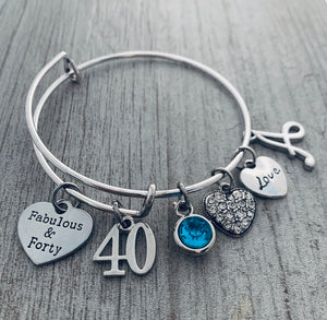 Personalized 40th Birthday Gifts for Women with Birthstone & Letter Charm, Custom Fabulous and Forty Birthday Expandable Charm Bracelet, 40th Birthday Ideas, Gift for Her - Infinity Collection