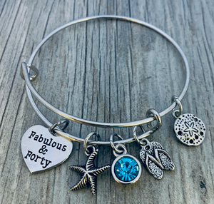 40th Birthday Beach Charm Bracelet - Infinity Collection