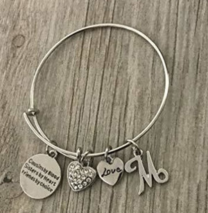 Personalized Cousin Gift with Letter Charm, Cousins by Chance, Friends by Choice Charm Adjustable Bangle, Cousin Jewelry for Women for Cousins - Infinity Collection