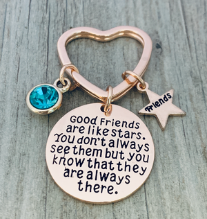 Personalized Best Friends Birthstone Charm Keychain- Rose Gold Custom Good Friends are Like Stars Key chain- Friend Jewelry for Women- Perfect Gift for Her