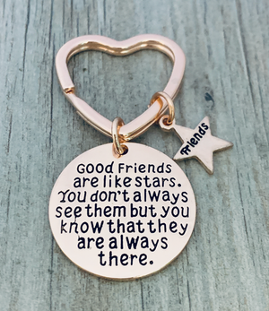 Best Friends Keychain-Rose Gold Good Friends Keychain- Friend Jewelry- Perfect Gift for Friends
