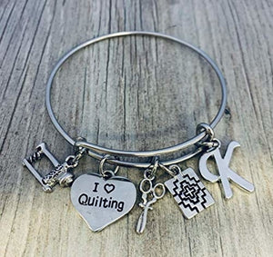 Personalized Quilting Jewelry with Letter Charm- Custom Sewing Gift