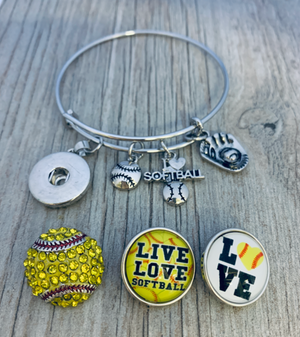 Softball Interchangeable Snap Charm Bangle Bracelet - Infinity Collection