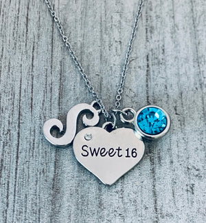Personalized Sweet 16 Charm Birthday Necklace with Letter & Birthstone, Custom Sweet Sixteen Jewelry Birthday Gift For Girls, 16th Birthday Pendant - Infinity Collection