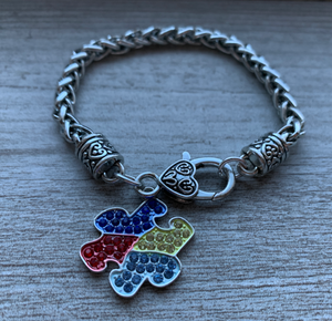 Autism Bracelet, Autism Awareness Jewelry, Autism Puzzle Piece Bracelet - Infinity Collection