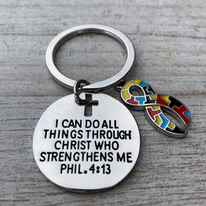 Autism Charm Keychain, Christian Faith Charm Keychain, I Can Do All Things Through Christ Who Strengthens Me Phil. 4:13 Scripture Jewelry - Infinity Collection