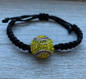 Softball Adjustable Snap Charm Rope Bracelet - Infinity Collection