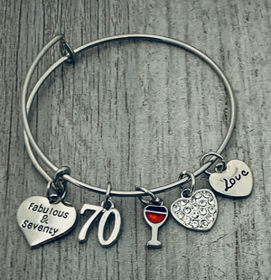 70th Birthday Wine Charm Bracelet, Fabulous and Seventy Jewelry - Infinity Collection