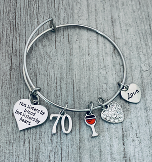 70th Birthday Wine Charm Bracelet, Not Sisters By Blood But Sisters By Heart Jewelry - Infinity Collection