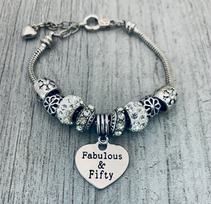 50th Birthday Charm Bracelet - Infinity Collection