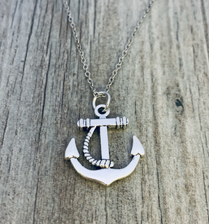 Anchor Charm Necklace, Anchor Pendant Sailor Nautical Jewelry - Infinity Collection