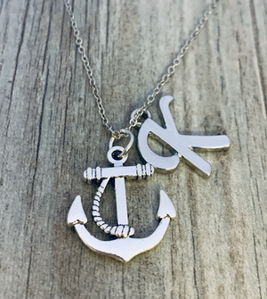 Personalized Anchor Charm Necklace, Anchor Pendant Sailor Nautical Jewelry - Infinity Collection