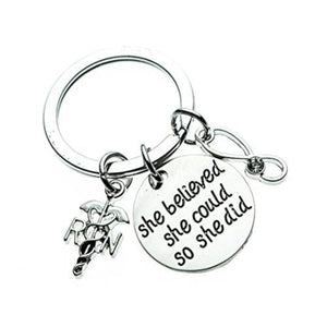 Nurse She Believed She Could So She Did Keychain - Infinity Collection
