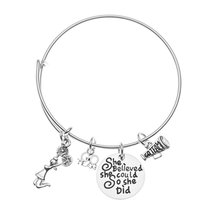 Girls Cheer Bangle Bracelet - She Believed She Could So She Did - Infinity Collection