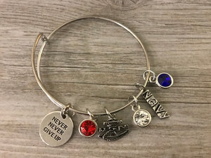 Navy Jewelry, Custom Navy Never Give Up Charm Bangle Bracelet For Women, Navy Gift for Women