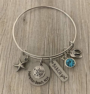 Personalized Beach Bracelet with Engraved Beach Name Charm, Beach Girl Bracelet