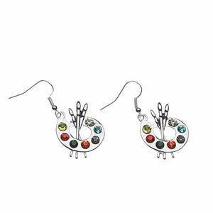 Paint Brush and Colorful Paint Palette Dangle Charm Earrings - Infinity Collection