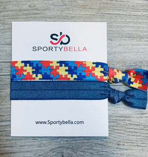 Autism Hair Ties, Autism Accessories, Autism Puzzle Piece Hair Ties - Infinity Collection