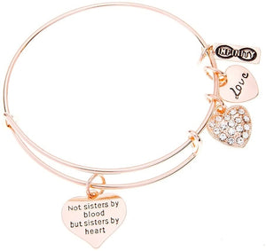 Friend Bracelet- Rose Gold Not Sisters By Blood But Sisters By Heart Jewelry