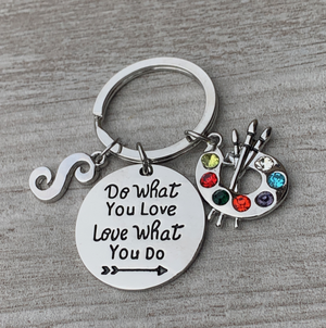 Personalized Artist Paint Palette Keychain, Do What You Love Painters Jewelry - Infinity Collection