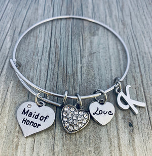 Personalized Maid of Honor Bangle Bracelet, Custom Maid of Honor, Bridesmaid Bracelet, Perfect Gift For Maids of Honor - Infinity Collection