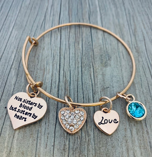 Personalized Friends Bracelet - Not Sisters By Blood But Sisters By Heart Jewelry - Infinity Collection