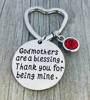 Personalized Godmother Gift, Custom Godmother Keychain with Birthstone Charm - Infinity Collection