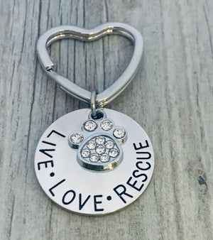 Pet Rescue Keychain, Live Love Rescue - Infinity Collection