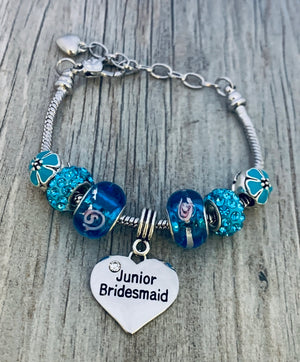 Junior Bridesmaid Charm Bracelet, Girls Blue Junior Bridesmaid Jewelry - Infinity Collection