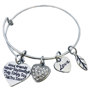 Good Friends Never Say Goodbye Bangle Bracelet- Friend Jewelry- Perfect Gift for Friends - Infinity Collection