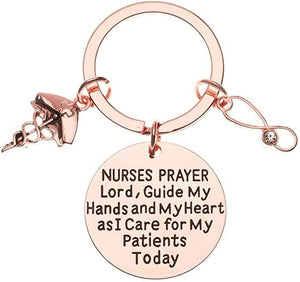 Nurse Prayer Keychain - Rose Gold Nurses Serenity Prayer - Infinity Collection