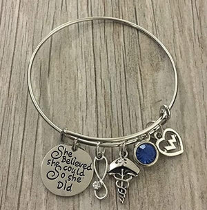 Personalized Nurse Birthstone Bangle Bracelet - She Believed She Could - Infinity Collection