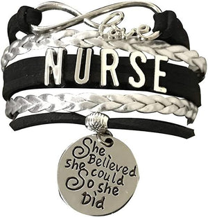 Nurse Charm Bracelet, She Believed She Could So She Did Jewelry - Infinity Collection