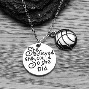 Basketball She Believed She Could So She Did Necklace - Infinity Collection