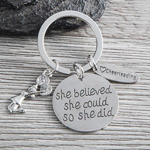 Cheer She Believed She Could So She Did Keychain - Infinity Collection