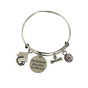 Volleyball Graduation She Believed She Could So She Did Bangle Bracelet - Infinity Collection